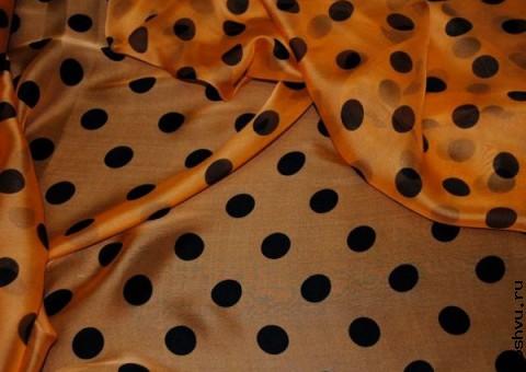 Ткань шелковый шифон в горошек Медовая