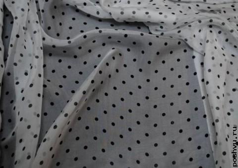 Ткань шелковый шифон Задорный горох