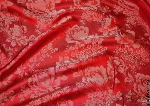 Ткань шелковый жаккард с белым узором Георгины