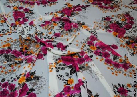 Ткань шифон Корзина цветов