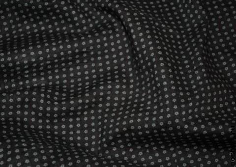 Ткань хлопковая черная в маргаритках