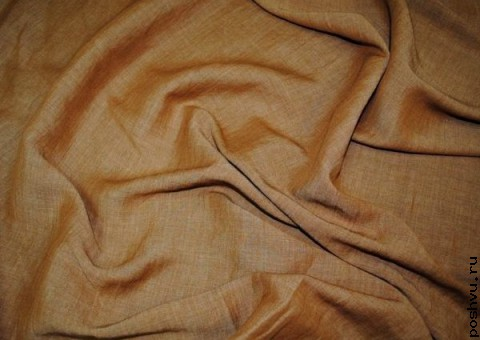 Ткань льняная Перламутровомедная