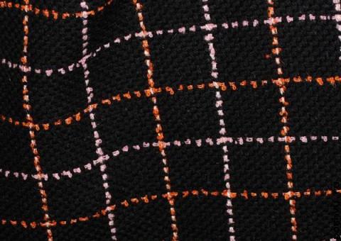 Ткань шерстяная черная с оранжевой простежкой Геометрия