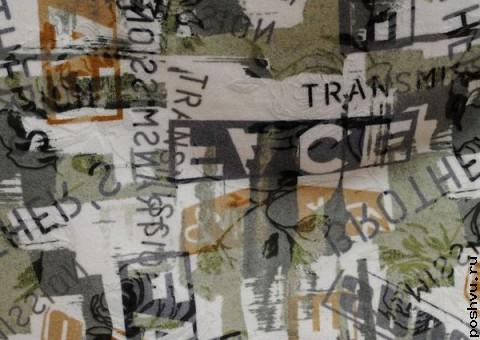 Ткань шерстяная с принтом Рекламные афиши