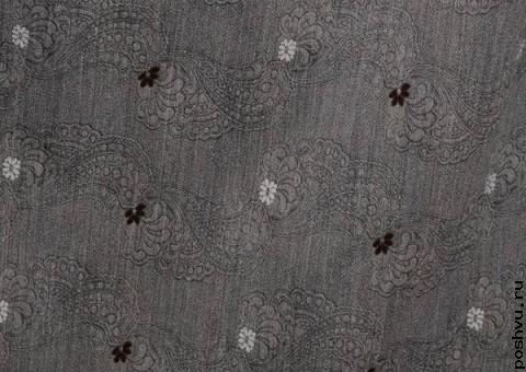 Ткань шерстяная серая с флористическими узорами Букет
