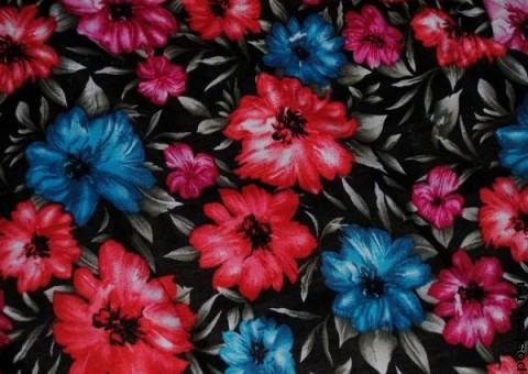 Ткань узорная Флоксы синие и красные