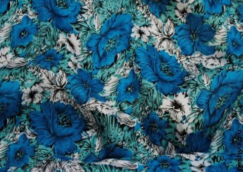 Ткань узорная Синие маки