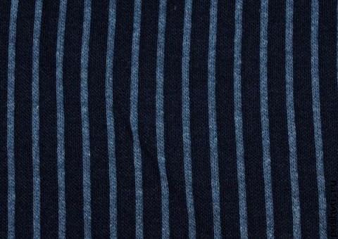Трикотажная ткань синяя с голубой полоской Морская