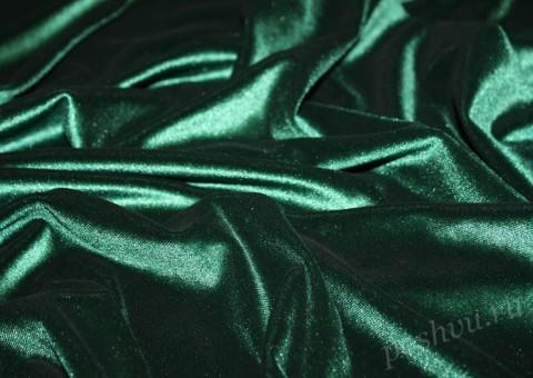 Ткань бархат стрейч изумрудного оттенка