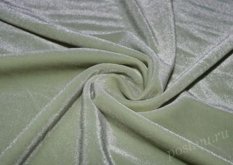 """Бархат стрейч """"Pandora"""" серо-зеленого цвета"""