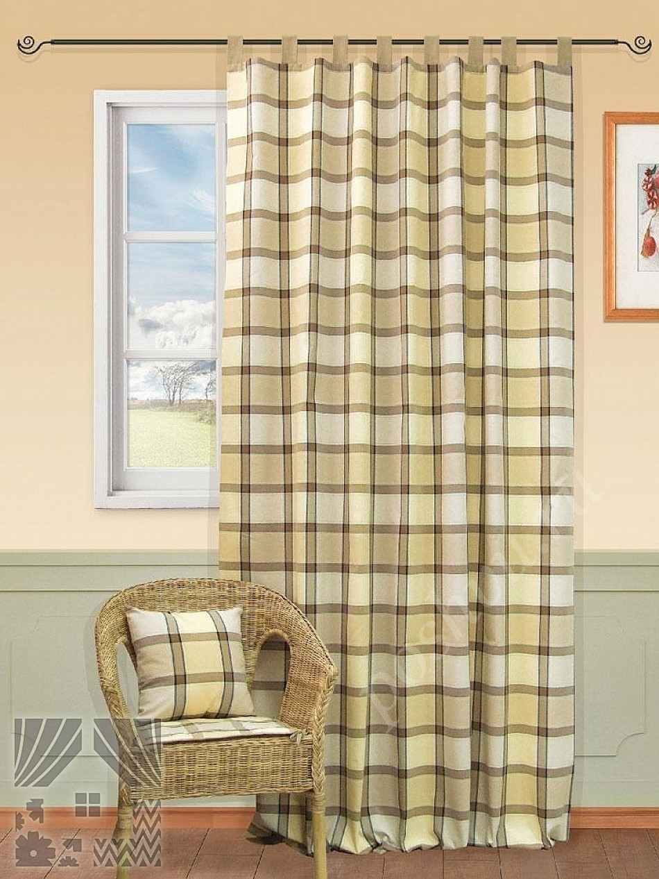уютные портьеры в крупную клетку для гостиной или спальни шторы