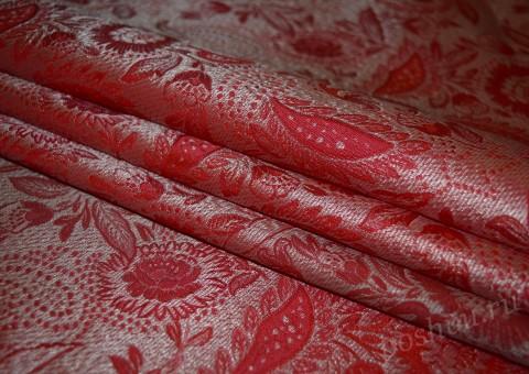 Ткань китайский шелк красный с орнаментом