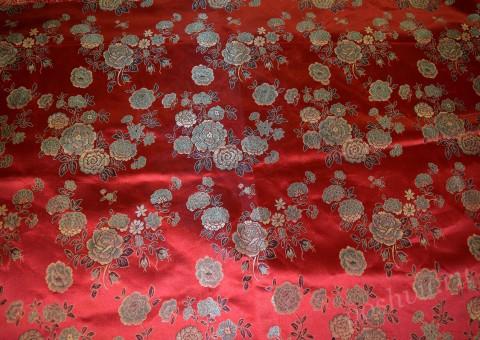 Ткань китайский шелк красный Тысячи цветов