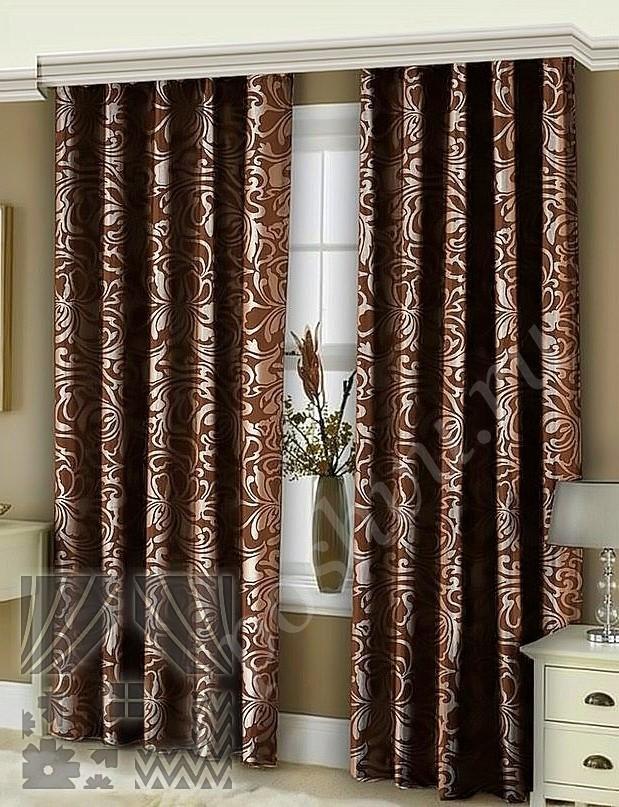 Шоколадные шторы в спальню