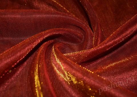 Сетка-стрейч с люрексом красного цвета