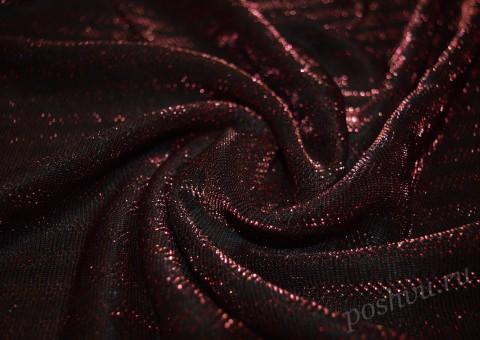 Сетка-стрейч с люрексом бордового цвета