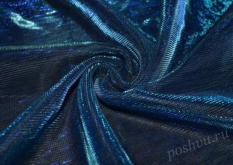 Сетка-стрейч с люрексом голубого цвета