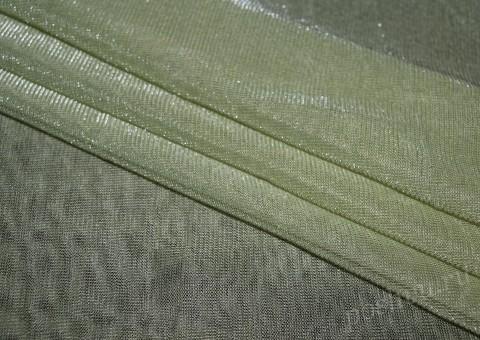 Сетка-стрейч с люрексом бледно-зеленого цвета