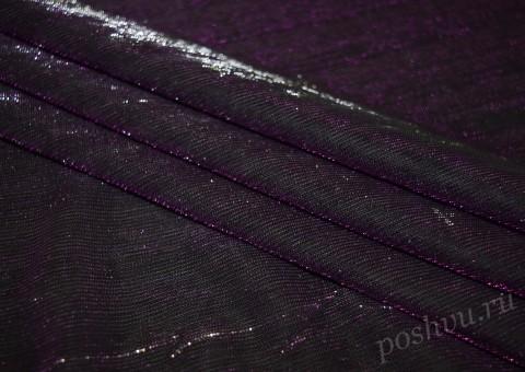 Сетка-стрейч с люрексом темно-фиолетового цвета