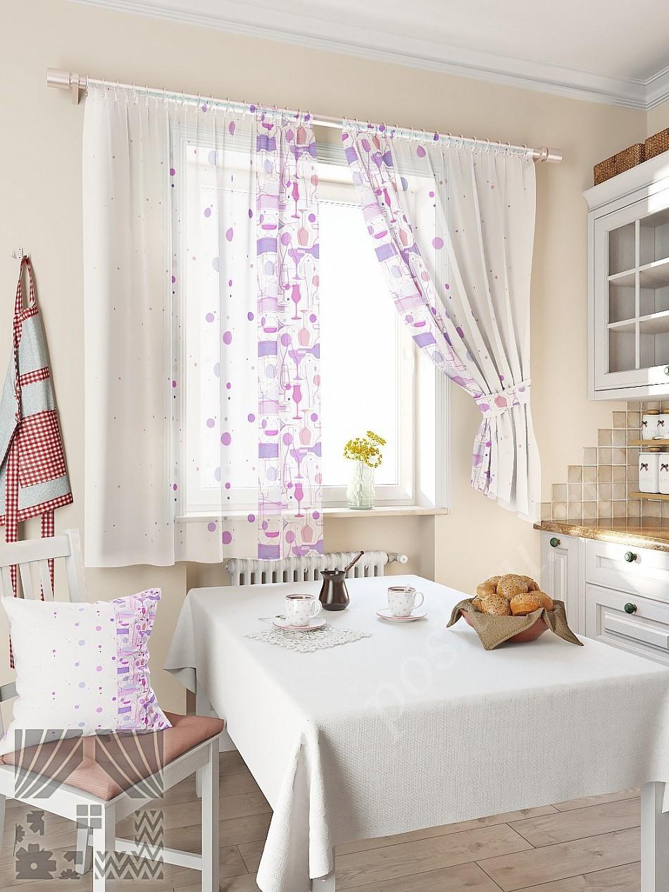 Шторы для кухни  фиолетовая