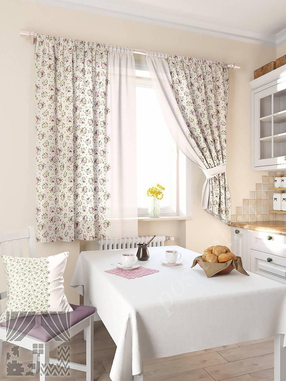 изящный комплект готовых штор в стиле прованс для кухни купить