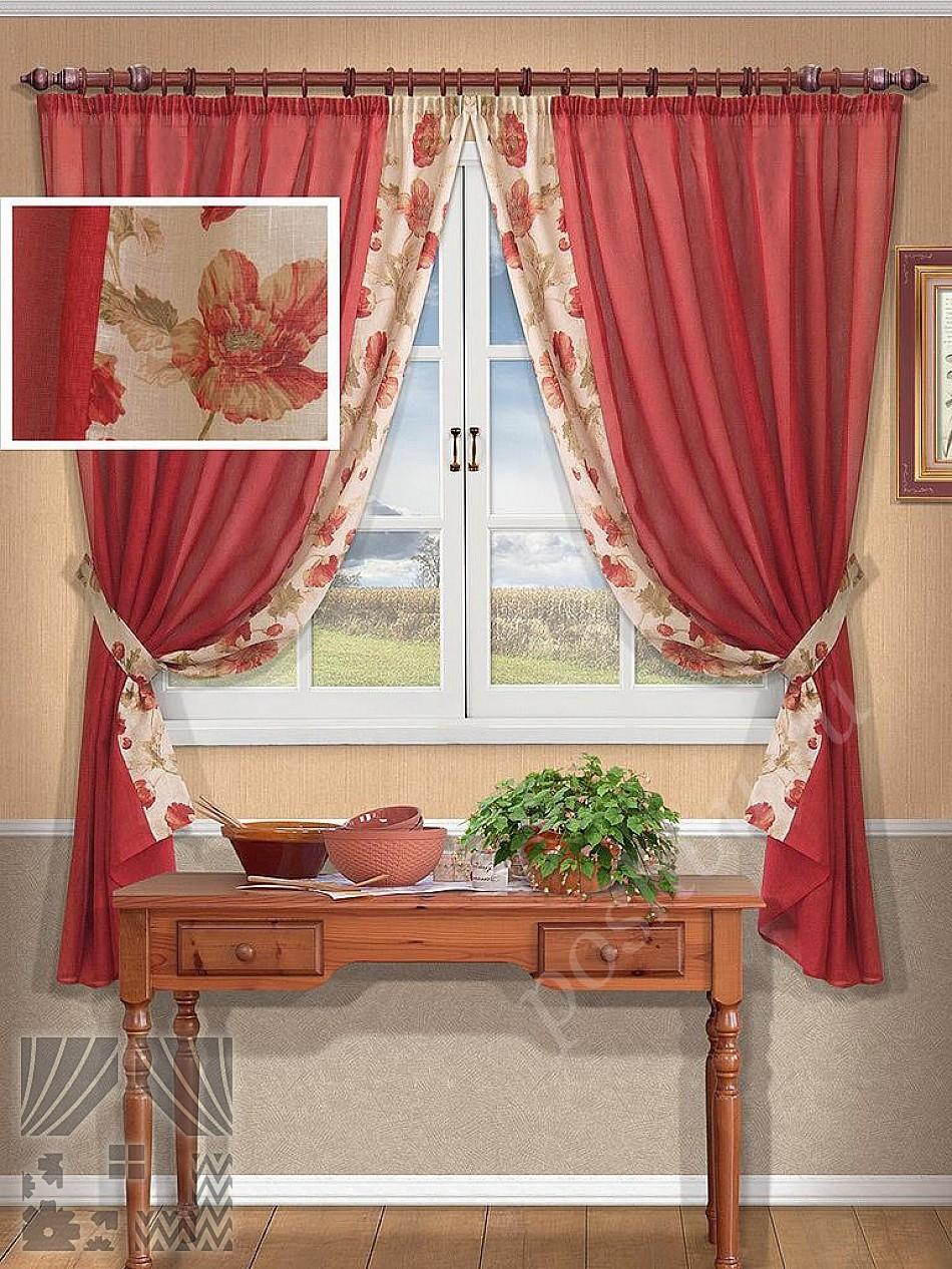 Красно белые шторы на кухню своими руками