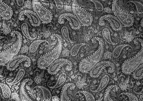 Ткань парча росписная Серебряная роспись