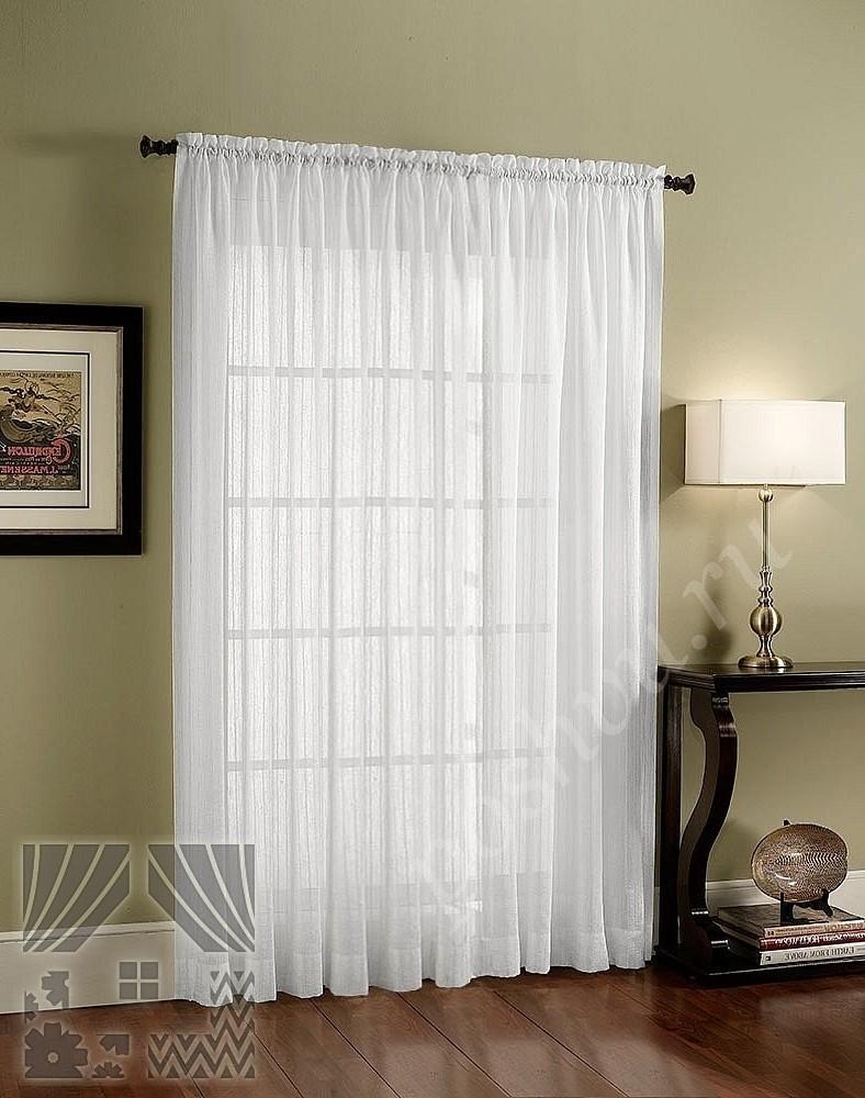 легкий вуалевый тюль белого цвета для гостиной ли спальни купить в