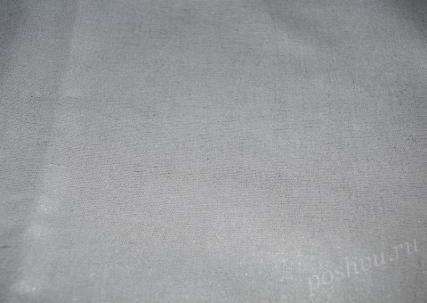 Ткань льняная Белого цвета с напылением