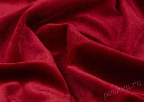 """Бархат стрейч """"Pandora"""" Красный"""