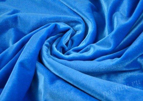 """Бархат стрейч """"Pandora"""" Голубой"""