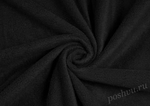 Флис однотонный черного цвета 130 гр/м2