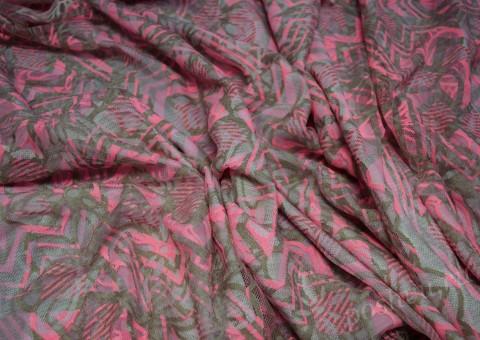 Гипюр-стрейч серо-розового цвета